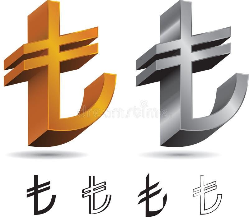 Set Tureckiego lira znaki ilustracja wektor