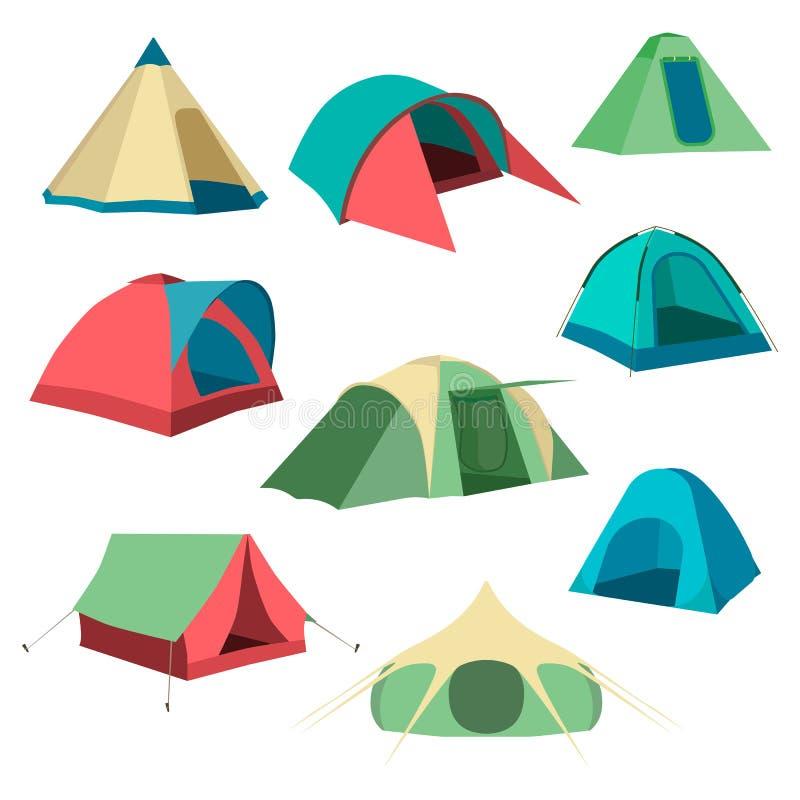 Set turystyczni namioty Kolekcja campingowego namiotu ikony również zwrócić corel ilustracji wektora ilustracji