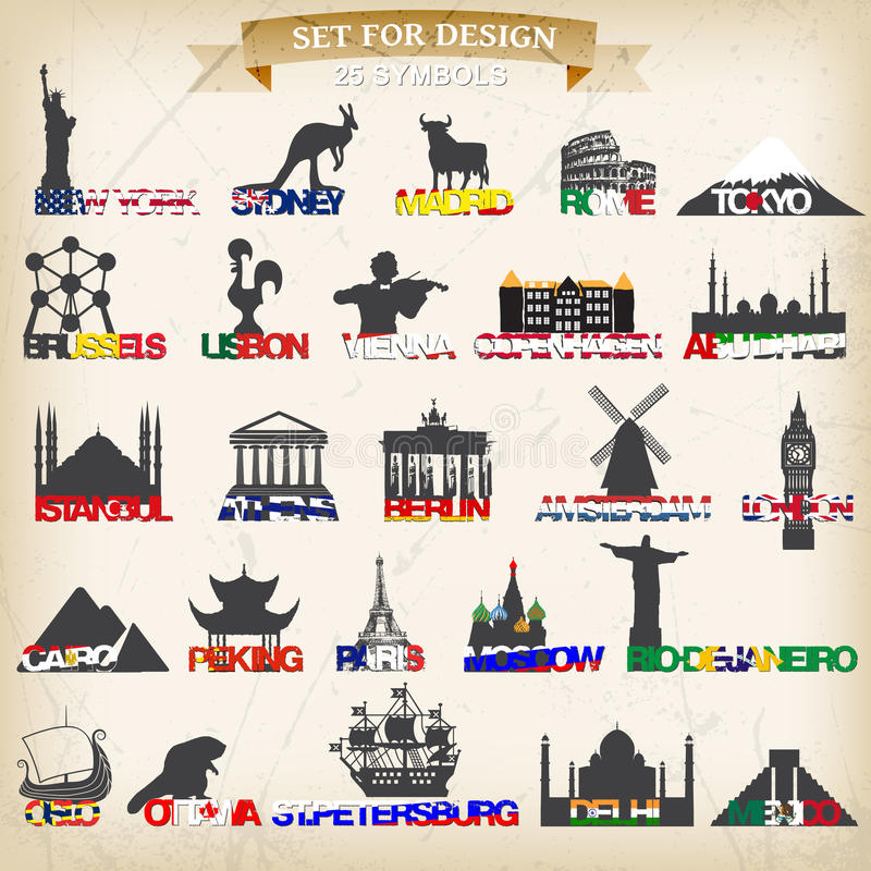 Set turystyczni symbole również zwrócić corel ilustracji wektora ilustracji