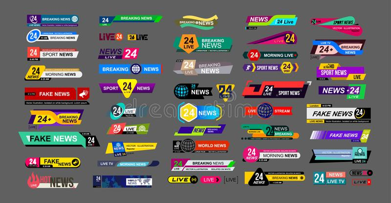 Set TV wiadomości bary Wiadomość znak, leje się wideo Łamający, imitacja, sport wiadomość Interfejsu znak Mockup szablony przygot ilustracja wektor