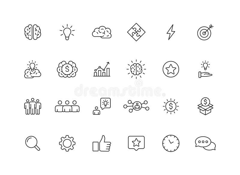 Set 24 twórczości i pomysłu sieci ikony w kreskowym stylu Tw?rczo??, Znajduje rozwi?zanie, Brainstorming, Kreatywnie g??wkowanie, royalty ilustracja