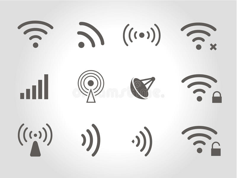 Set of twelve black vector wireless and wifi icons vector illustration