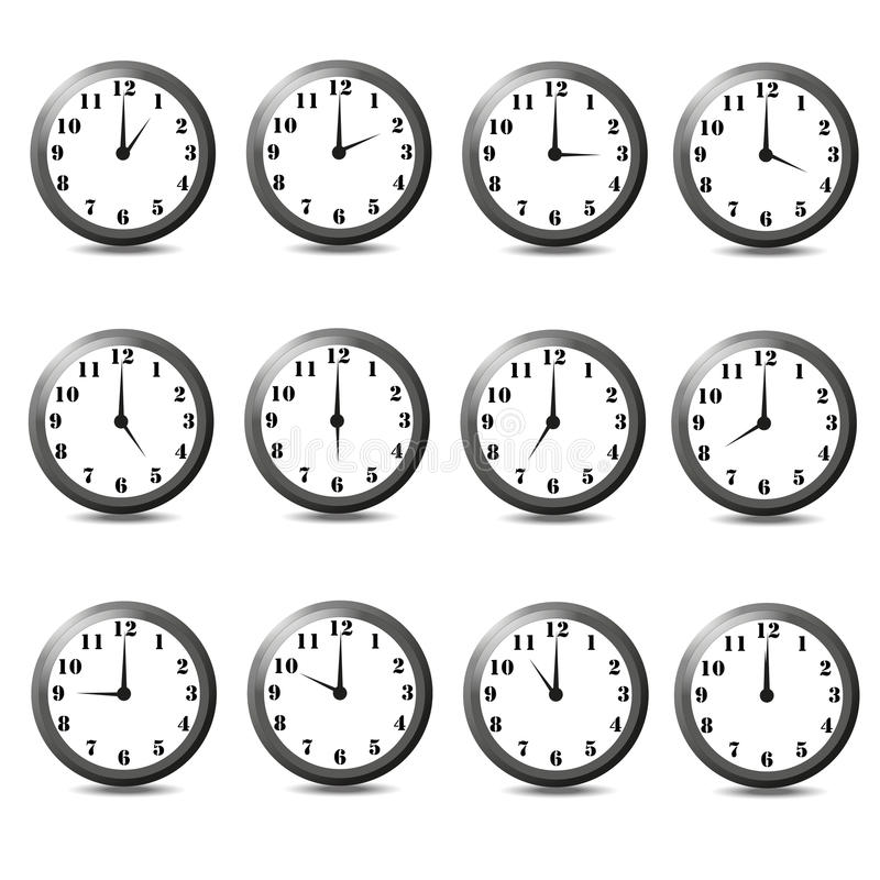 Set of twelve clock. Vector illustration on white background. One hour,two hour,three hour,four hour,five hour,six hour,seven hour,eight hour,nine hour,ten hour royalty free illustration