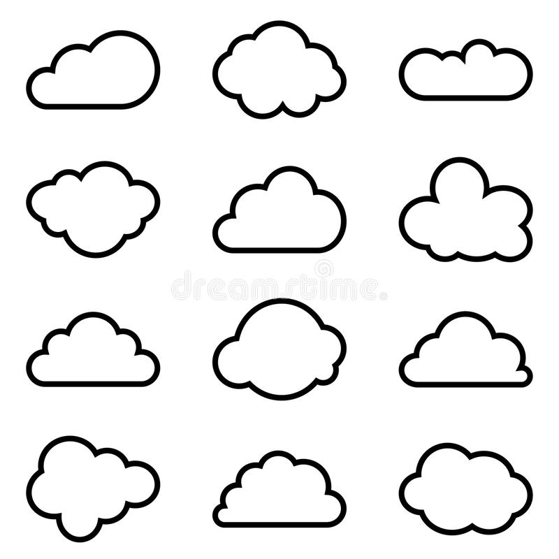 Set of twelve different vector shapes of clouds royalty free illustration