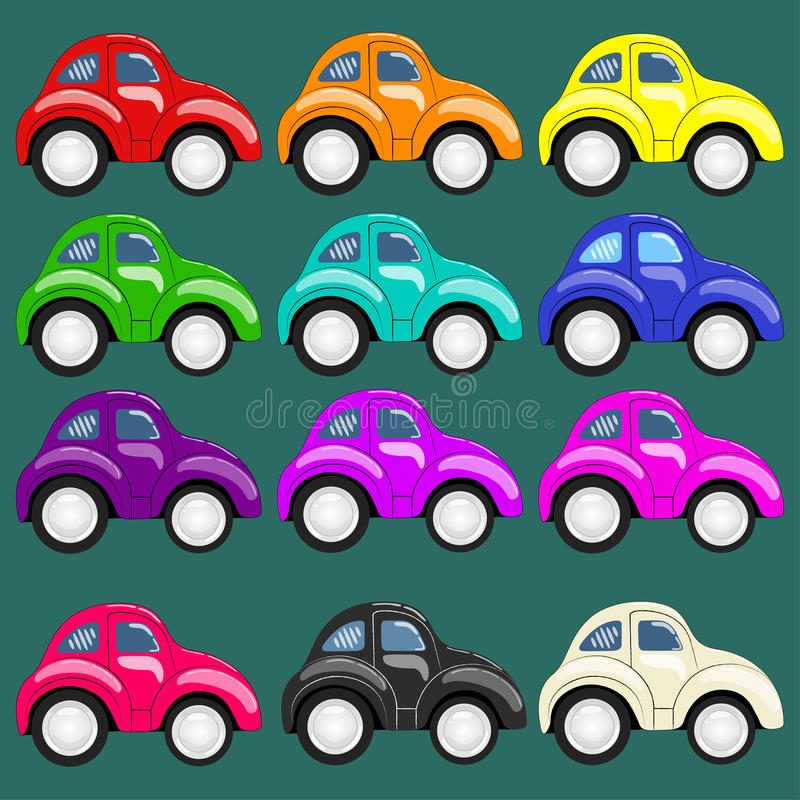 Set of twelve multi-colored cars stock photo