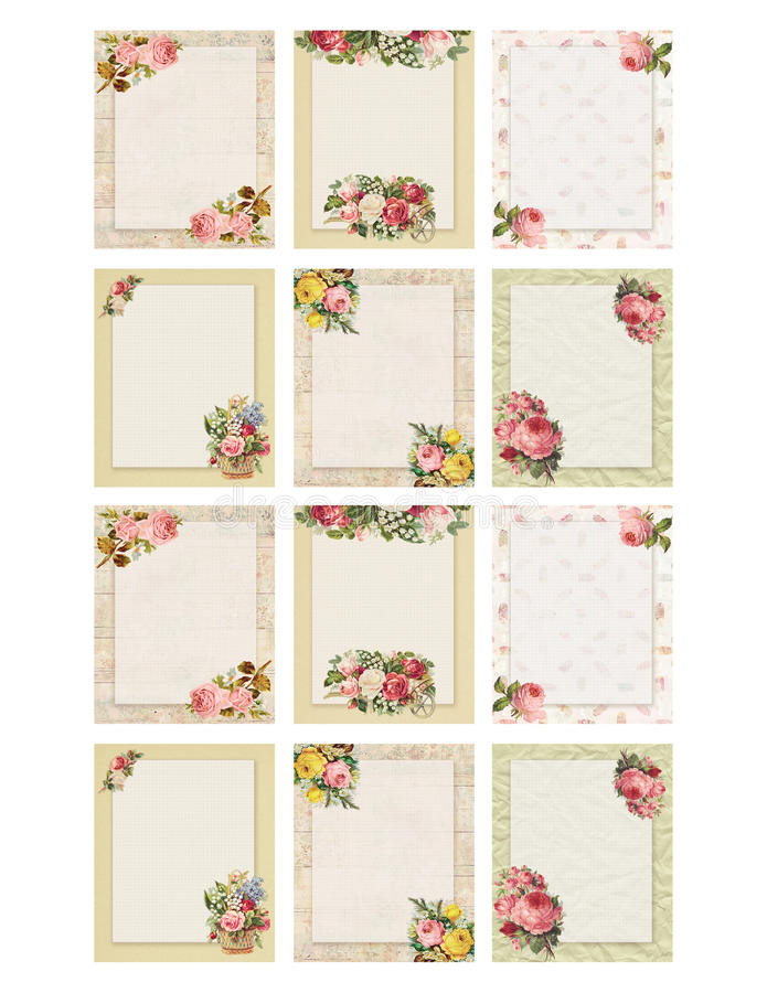 Set of twelve Printable vintage shabby chic style floral rose stationary on wood and paper background. Set of four Printable vintage shabby chic style floral royalty free illustration