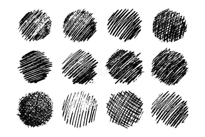 Set of twelve Sketch Scribble Smears royalty free illustration