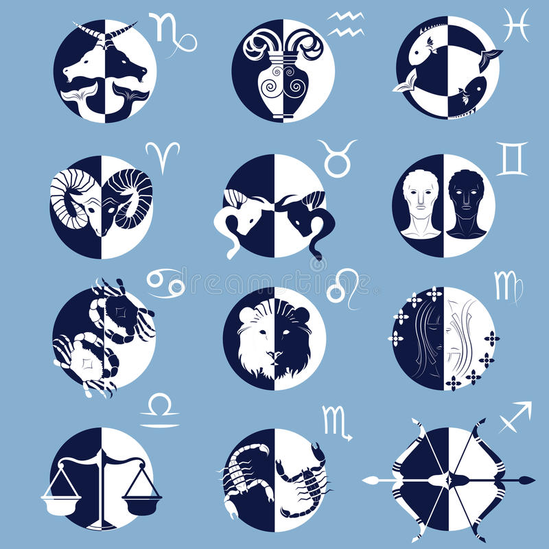 Set of Twelve Zodiac Horoscope Signs and Symbols stock photography