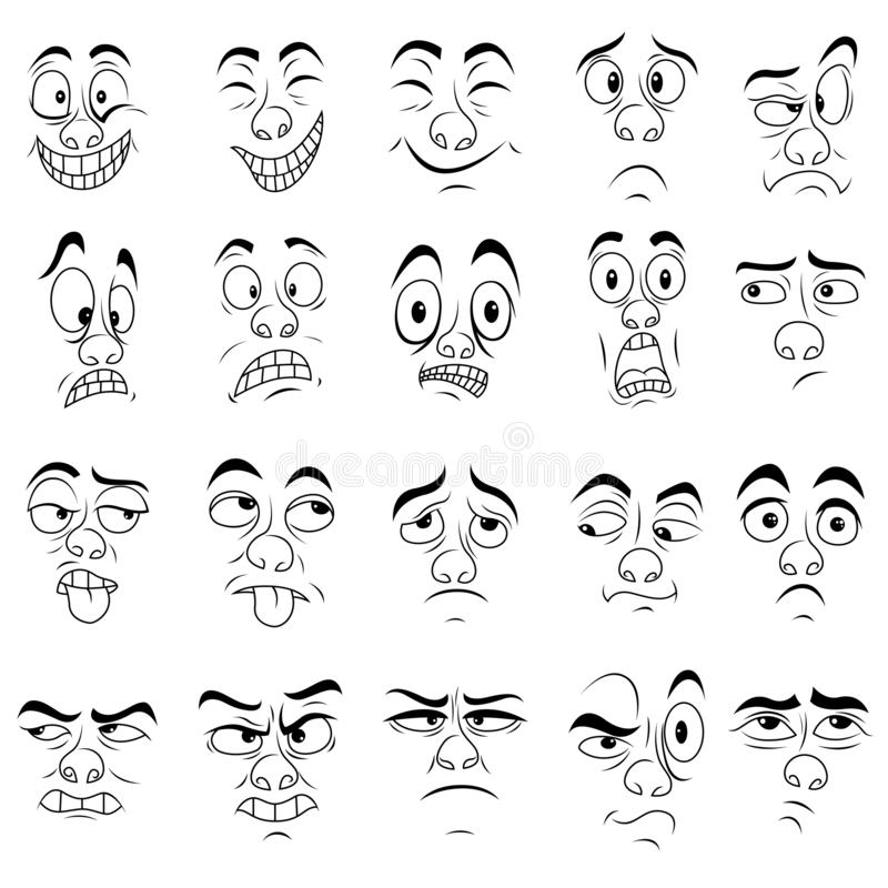Set of twenty amusing male grimaces. Sketching cartoon vector outlines isolated on the white background royalty free illustration