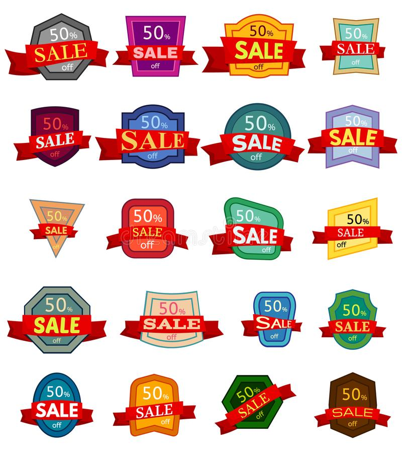 Set of twenty discount stickers. Colorful badges with red ribbon for sale 50 percent off. Vector illustration royalty free illustration