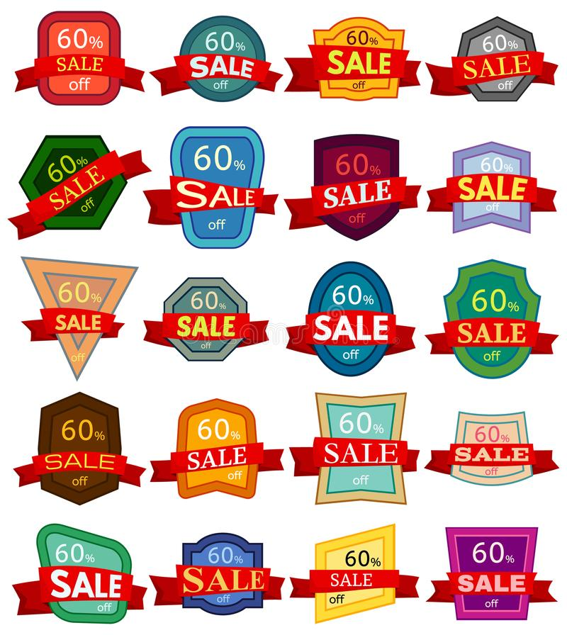 Set of twenty discount stickers. Colorful badges with red ribbon for sale 60 percent off. Vector illustration royalty free illustration