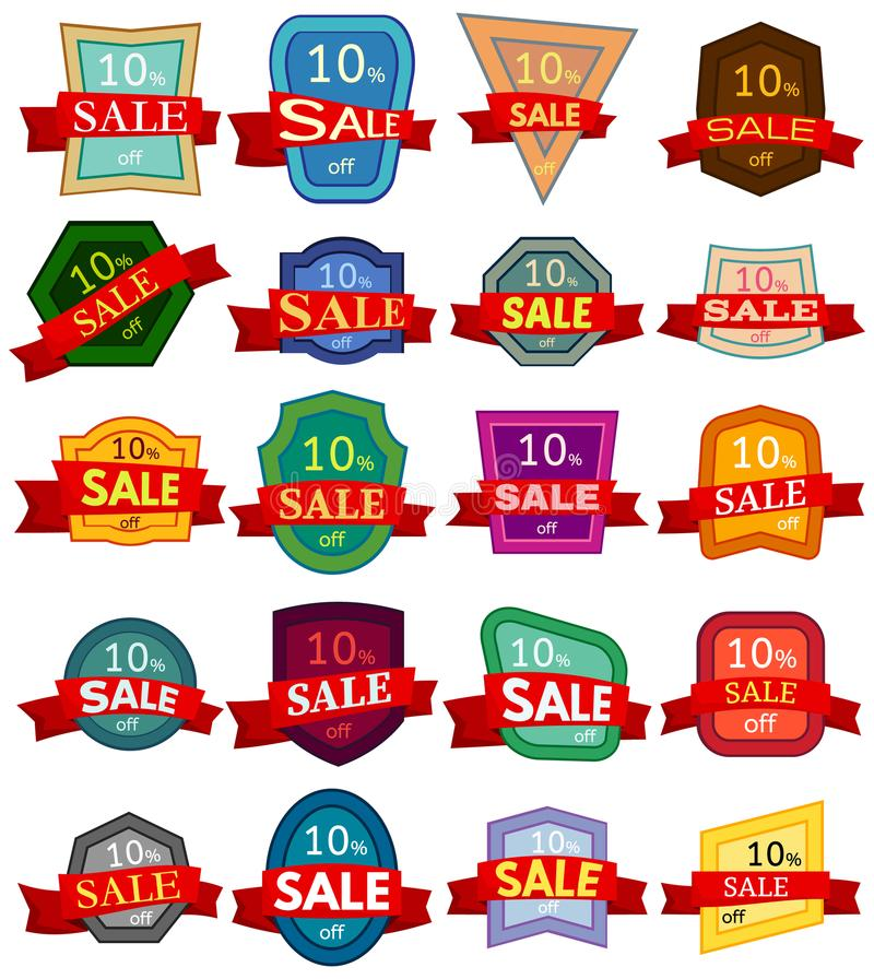 Set of twenty discount stickers. Colorful badges with red ribbon for sale 10 percent off. stock illustration