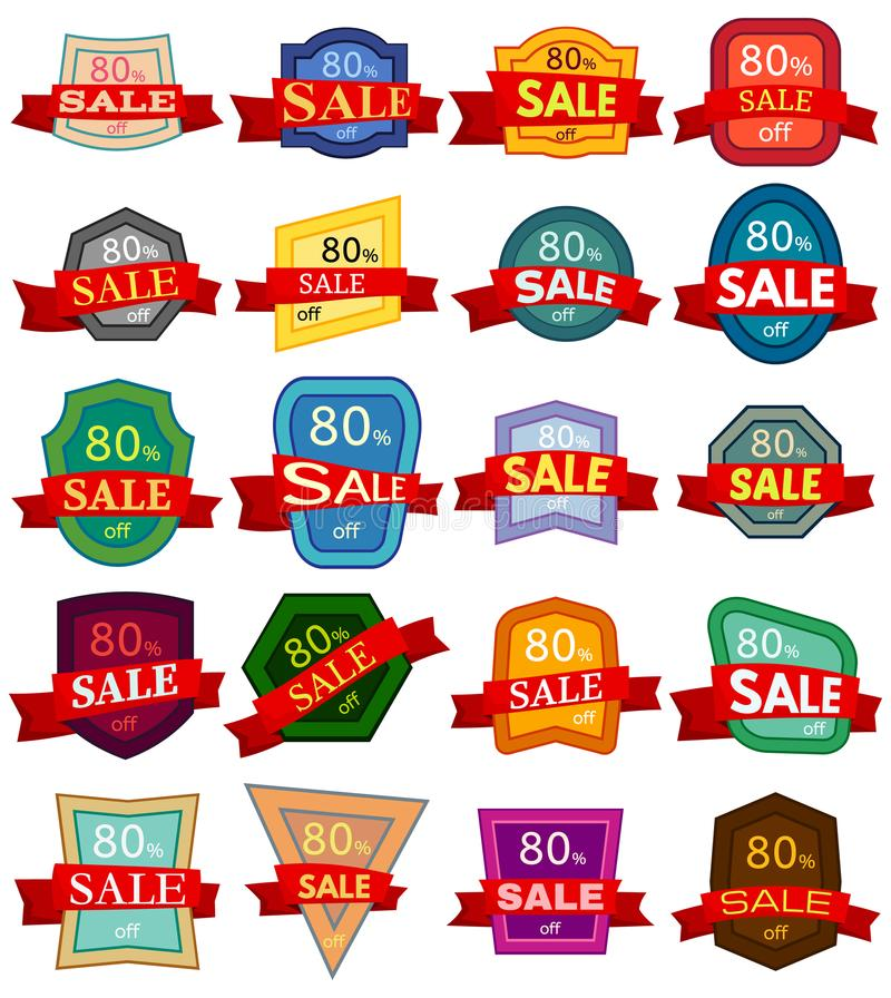 Set of twenty discount stickers. Colorful badges with red ribbon for sale 80 percent off. Vector illustration vector illustration