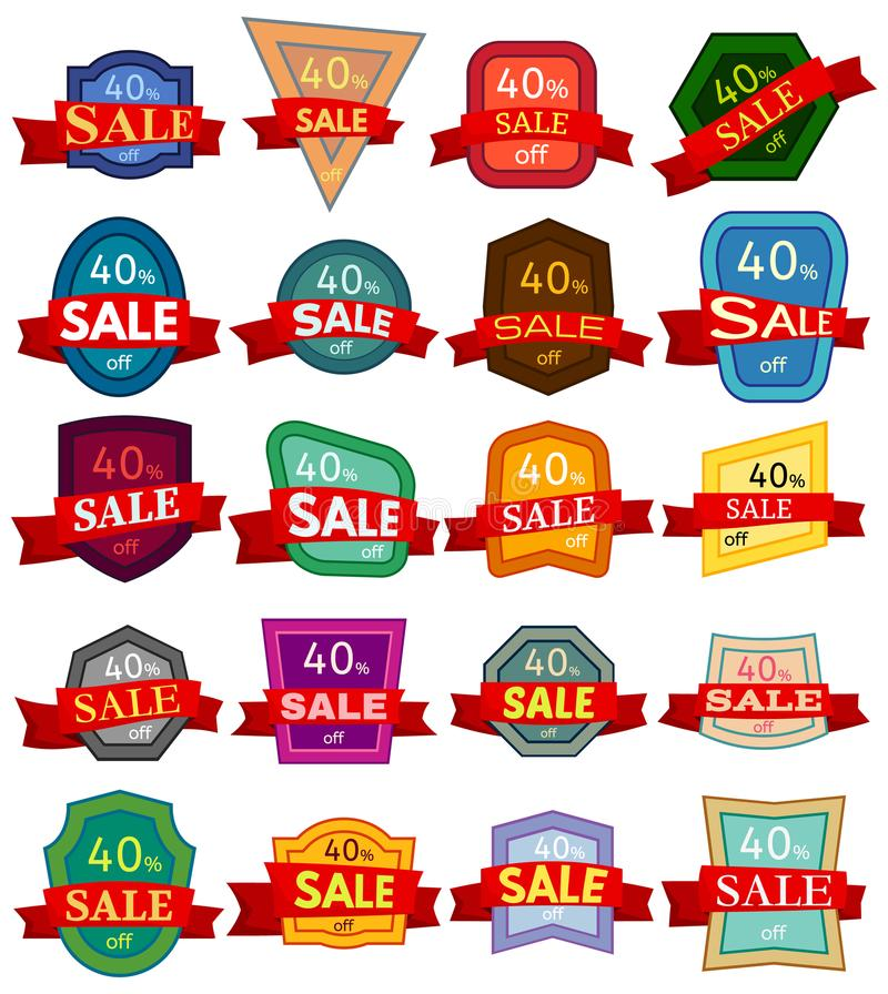Set of twenty discount stickers. Colorful badges with red ribbon for sale 40 percent off. Vector illustration royalty free illustration