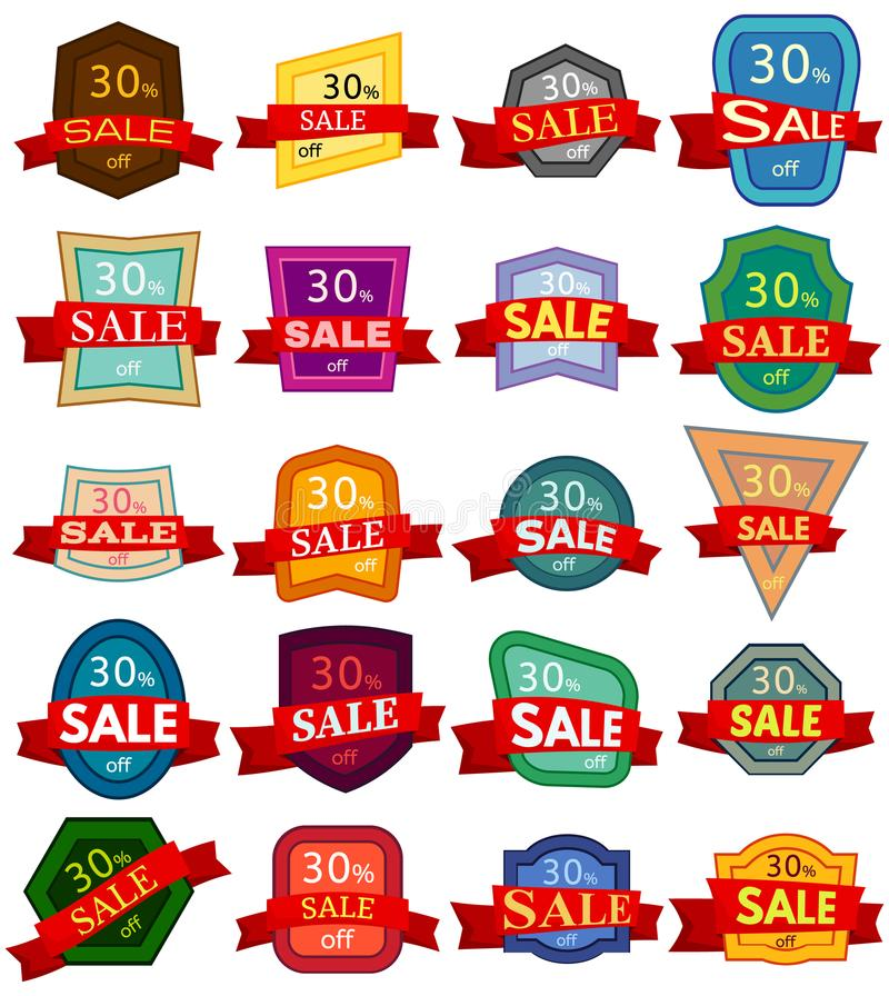 Set of twenty discount stickers. Colorful badges with red ribbon for sale 30 percent off. Vector illustration vector illustration
