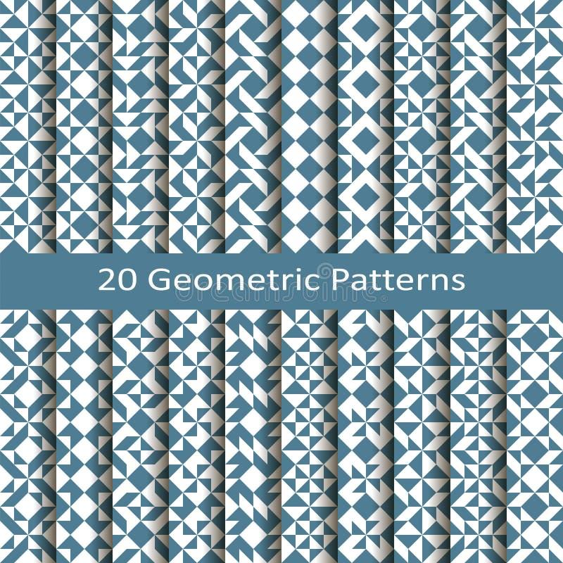 Set of twenty seamless vector geometric patterns. design for tiles, cover, textile stock illustration