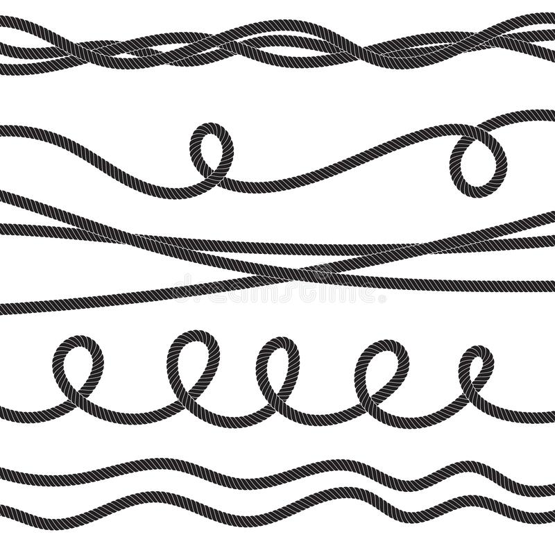 Set of twisted vector rope icon or cordage with loops. Isolated. Decorative twisted jute twine lines collection royalty free illustration