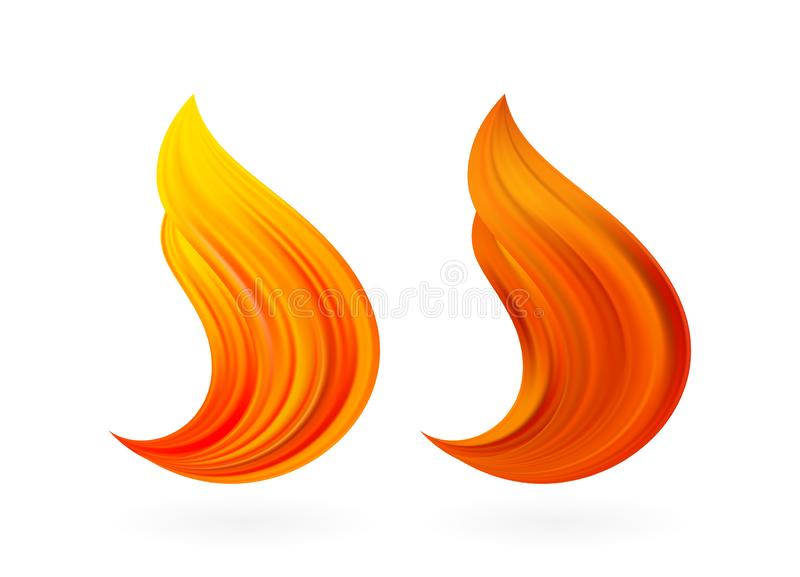 Vector illustration: Set of two Abstract 3d twisted color liquid flow shape. Paint stroke design. Fire flame. Set of two Abstract 3d twisted color liquid flow royalty free illustration