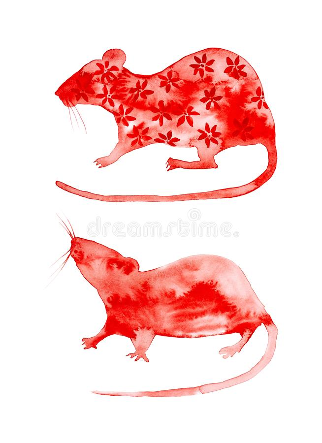 Set of two abstract red rats, one of them painted flowers. Symbol of 2020 new year. Watercolor illustration isolated on white stock photos