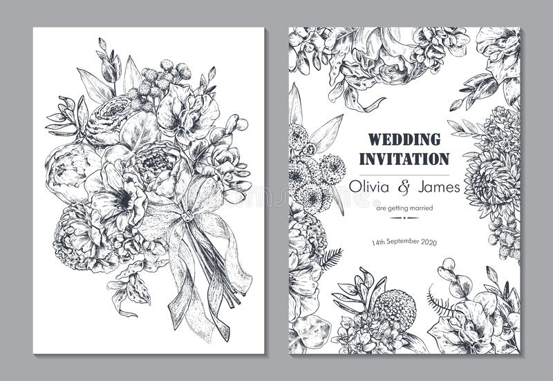 Set of two banners with beautiful floral frame and bouquet. Wedding invitation, greeting card royalty free stock photo