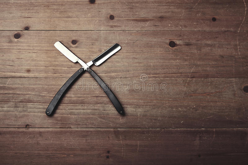 Set of two barber shop razors royalty free stock photo