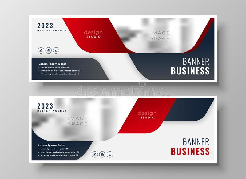 Set of two business banners in red theme vector illustration