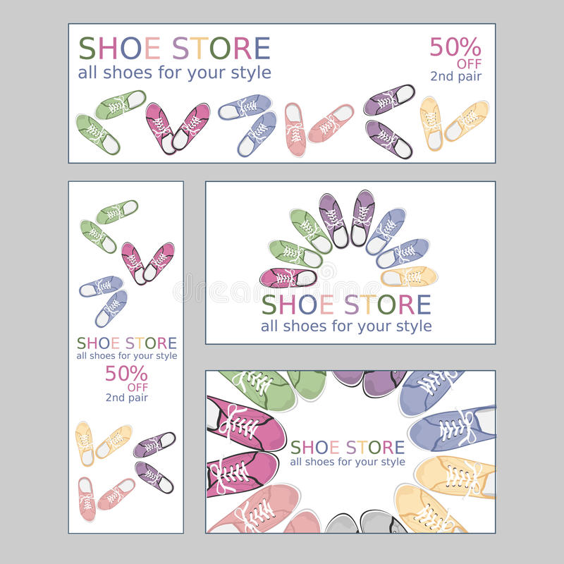 Set of two business card and two banners vector illustration