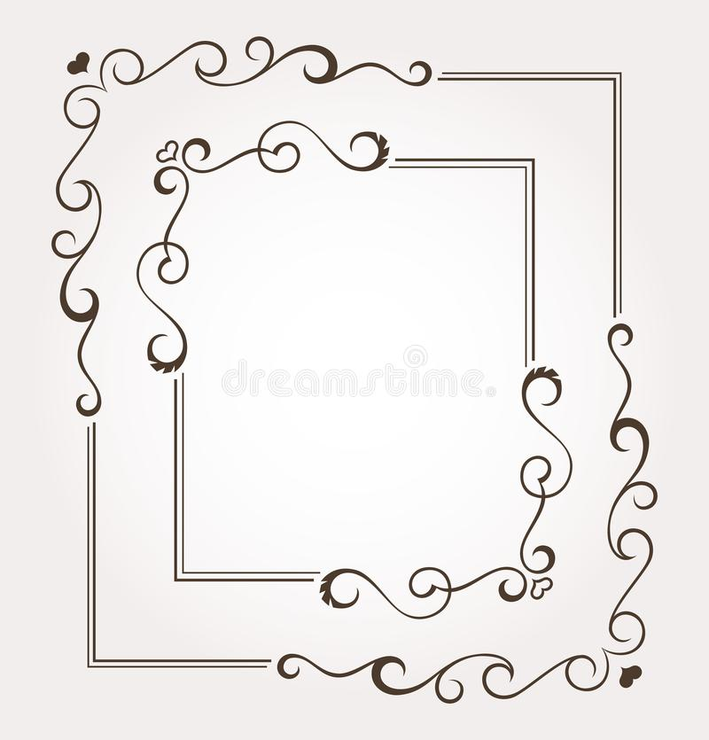 Set of two calligraphic floral valentine`s day frames and page decoration. Vector illustration vector illustration