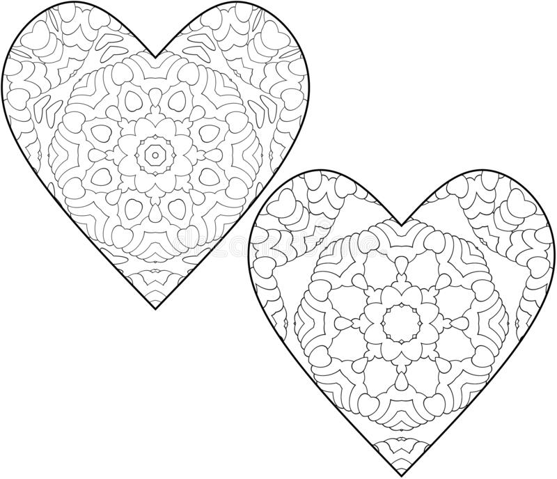 Set of two coloring pages for children and adults. Simple coloring with small details in the form of hearts. stock illustration