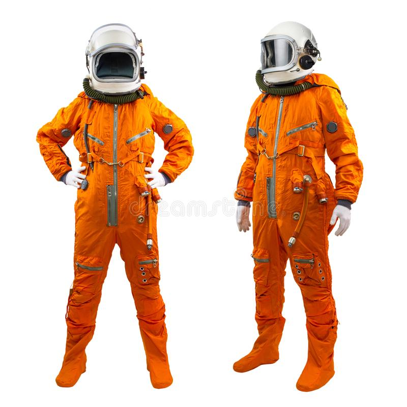 Set of two cosmonauts isolated on a white background stock photography