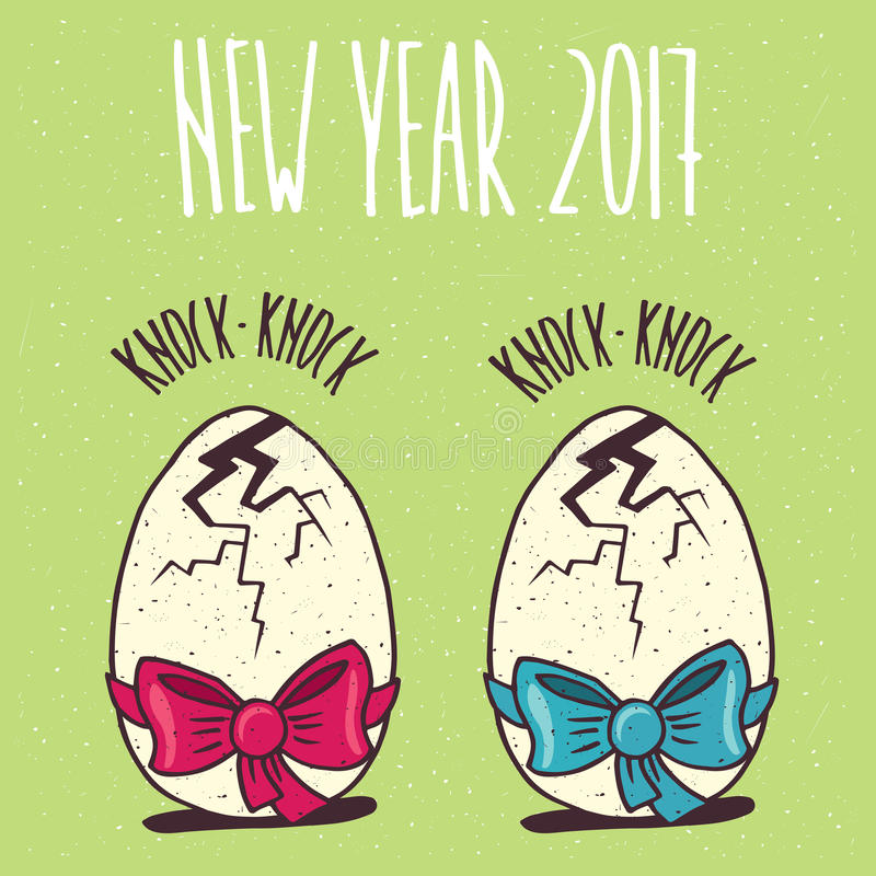Set of two cracked eggs with a different ribbons royalty free illustration