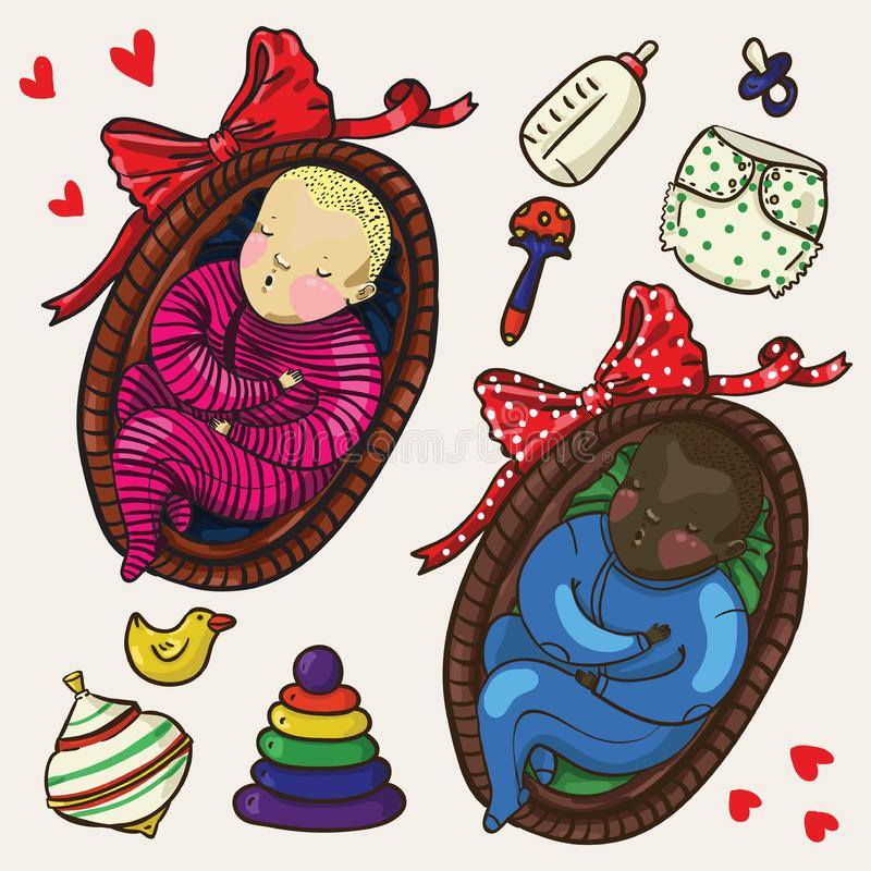 Set of two cute color babies sleeping in basket in cartoon style vector illustration