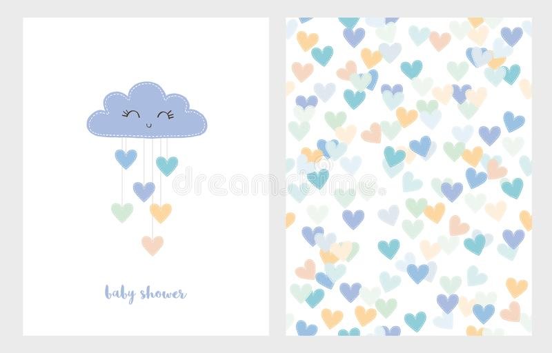 Set of Two Cute Vector Illustrations. Blue Smiling Cloud with Dropping Hearts. Blue Baby Shower Set. stock illustration