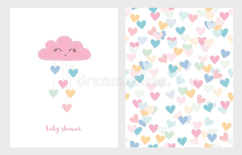 Set of Two Cute Vector Illustrations. Pink Smiling Cloud with Dropping Hearts. Pink Baby Shower Text. vector illustration