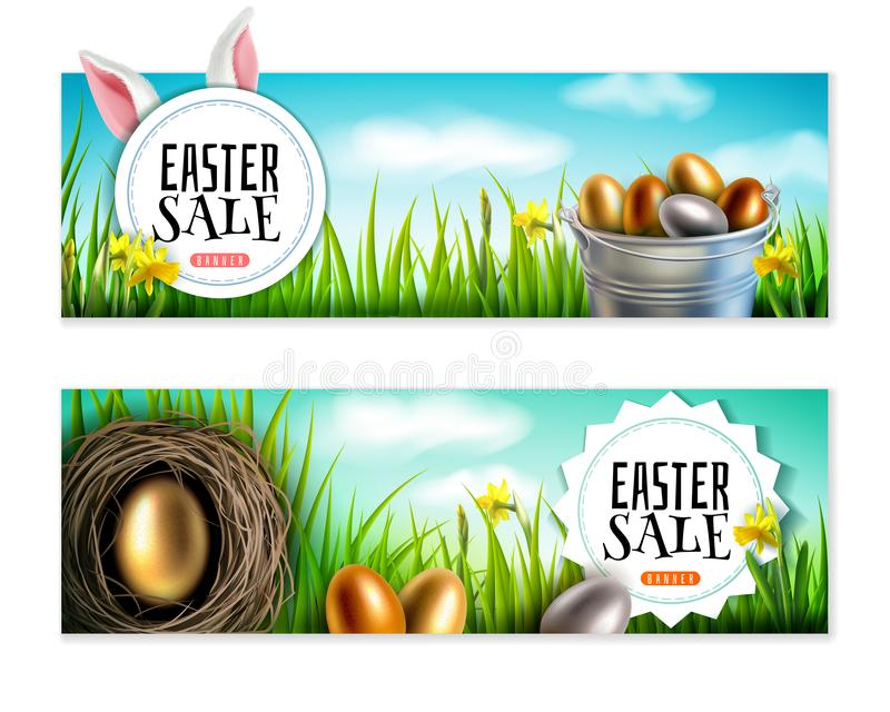 Set of two Easter banners in realistic style royalty free illustration