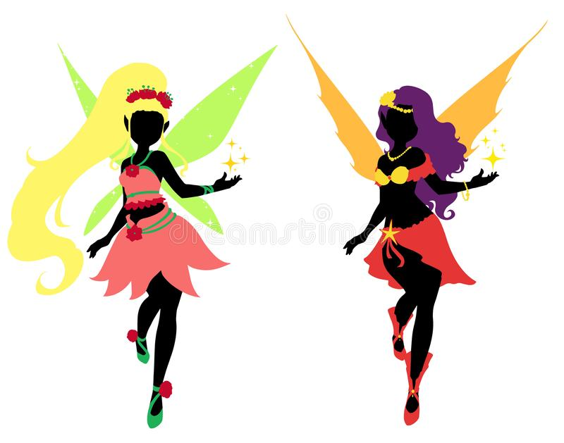 Set of two fairy silhouettes. vector illustration