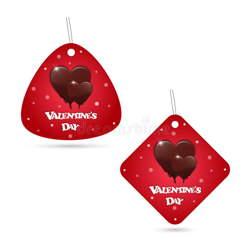 A set of two festive red labels with melting chocolate hearts. Dancing Valentine`s Day inscription. royalty free illustration