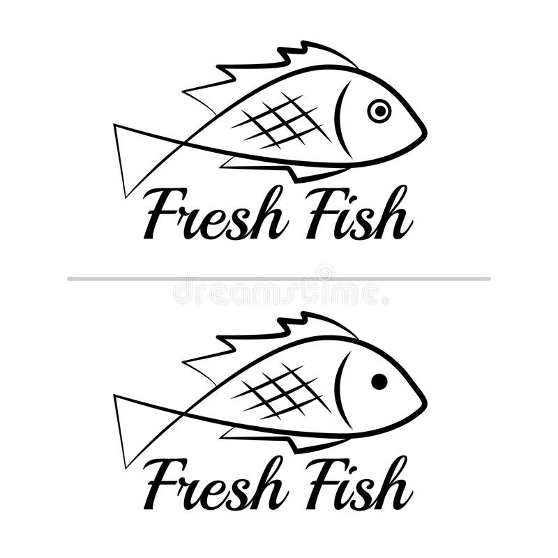 Fresh fish logo symbol icon sign simple black colored set 4 royalty free illustration