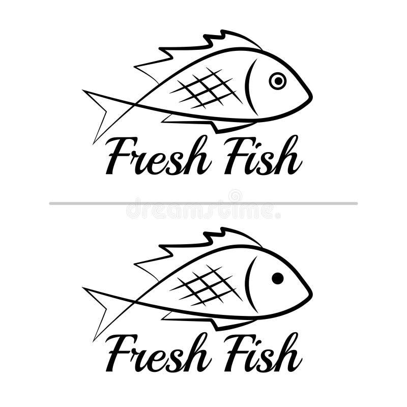 Fresh fish logo symbol icon sign simple black colored set 5 vector illustration