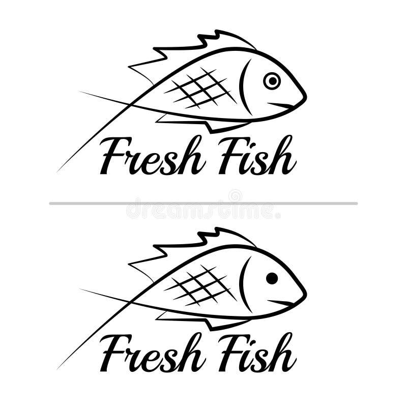 Fresh fish logo symbol icon sign simple black colored set 6 stock illustration