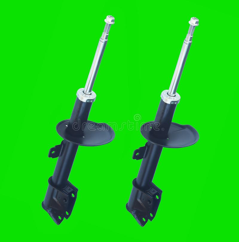 Gas shock absorbers for auto industry isolated on green royalty free stock photography