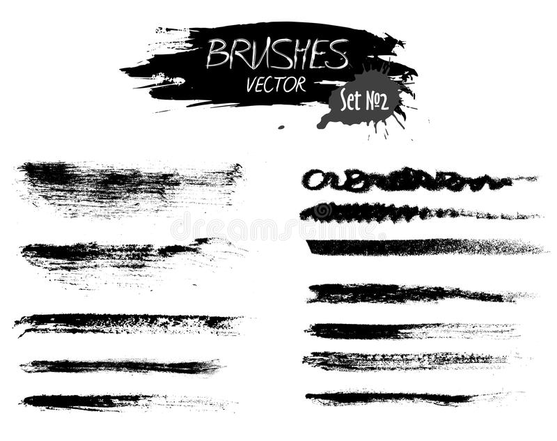 Set two of grunge vector ink strokes or brushes stock images