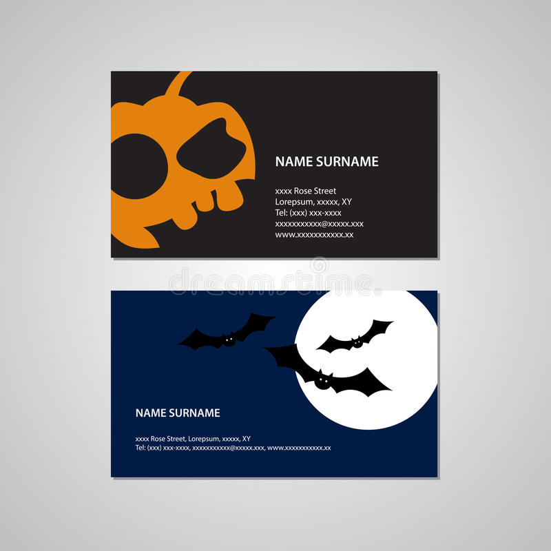 Set Of Two Halloween Business Cards - USA Standard Stock Vector ...