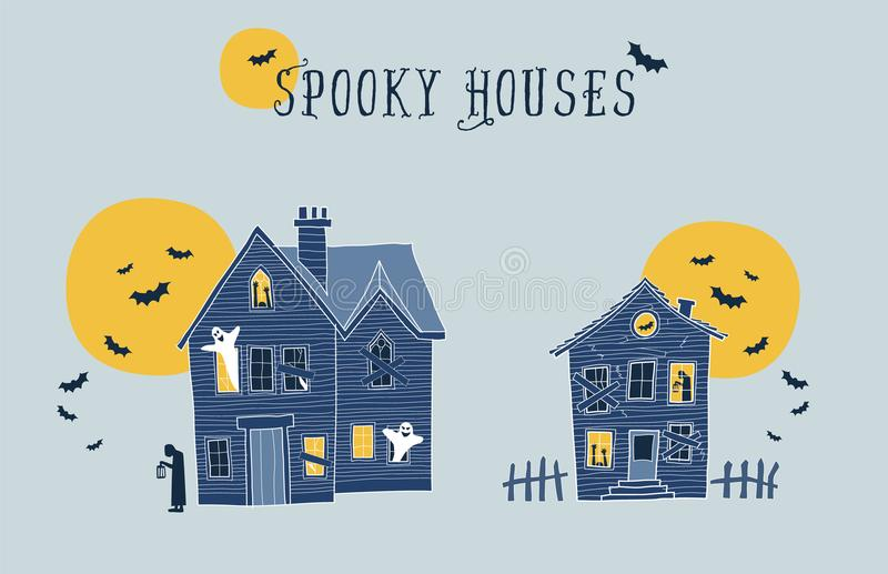 Set of two halloween spooky houses illustrations. vector illustration