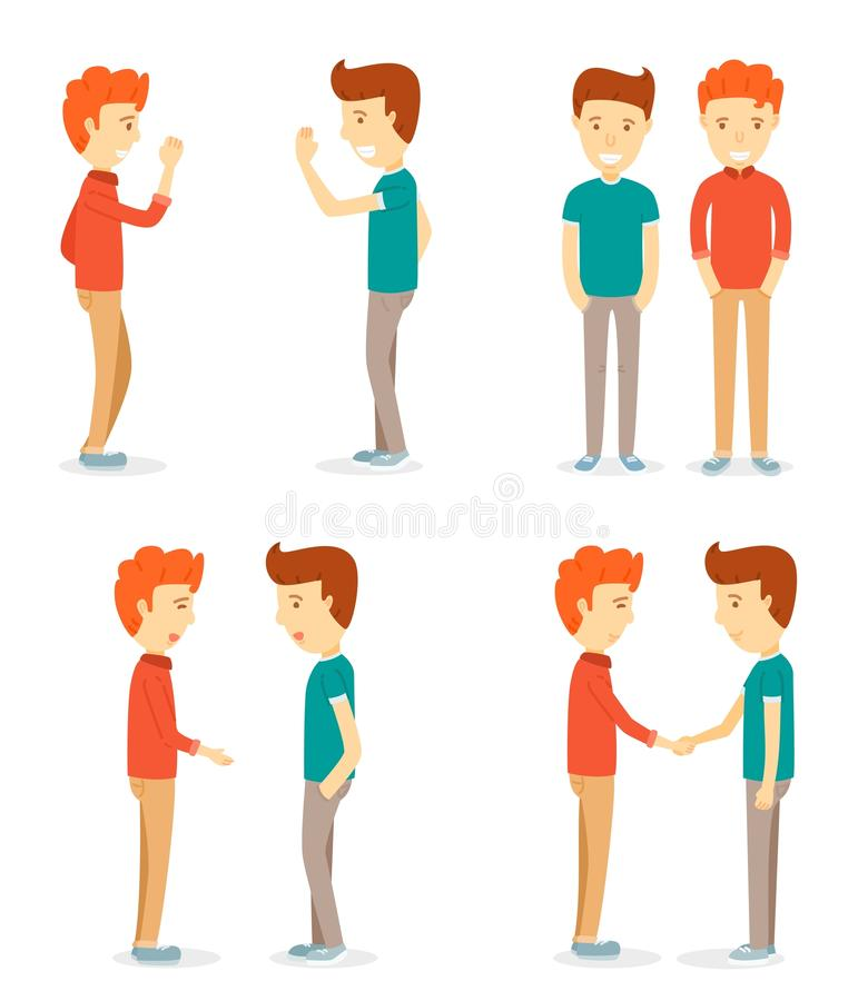 Set of two happy men character. Two men, talking, two men shaking hands, Meeting,Two men exchanged greetings,young man character,cartooning character,man vector illustration