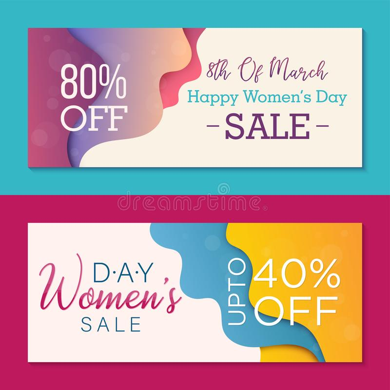 Set of two horizontal banners to Womens Day. Special offer templates for business vector illustration