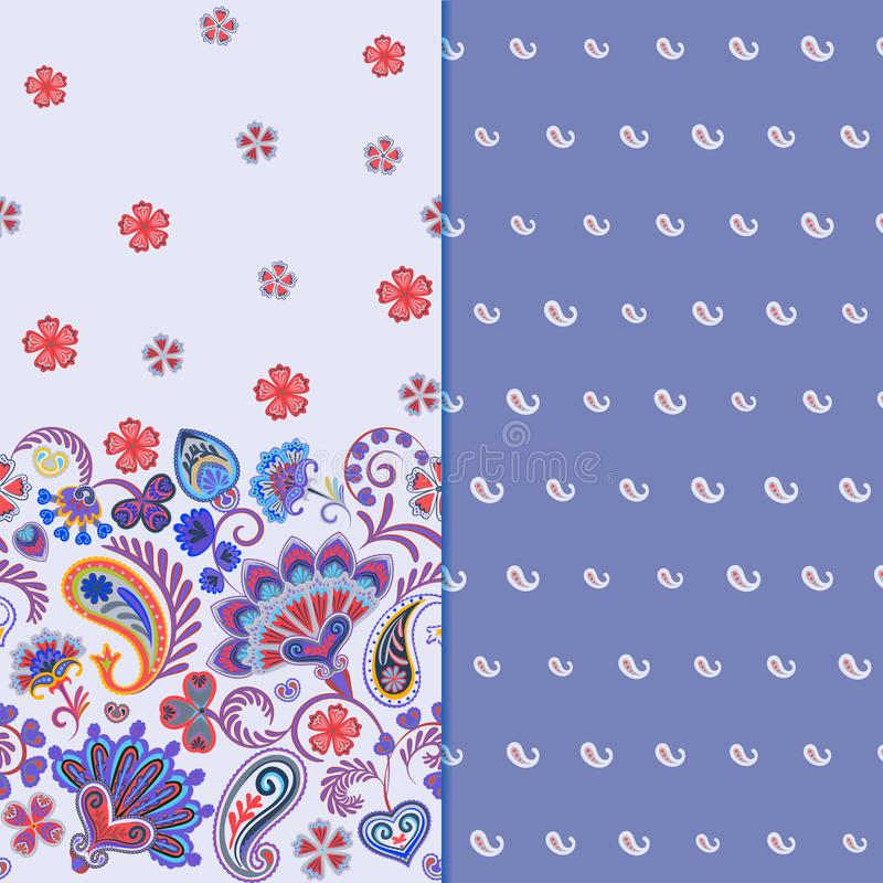 Set of two horizontal seamless floral pattern with paisley and fantasy flowers border. Hand drawn texture for clothes. Bedclothes, fabric of the dress etc royalty free illustration