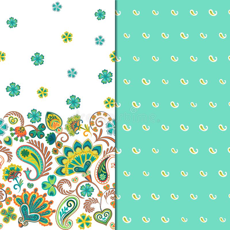 Set of two horizontal seamless floral pattern with paisley and fantasy flowers border. Hand drawn texture for clothes. Bedclothes, fabric of the dress etc vector illustration