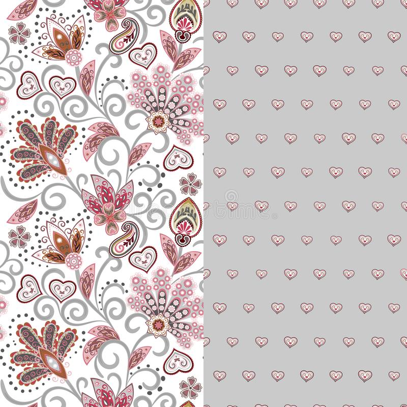 Set of two horizontal seamless floral pattern with paisley and fantasy flowers border. Hand drawn texture for clothes vector illustration