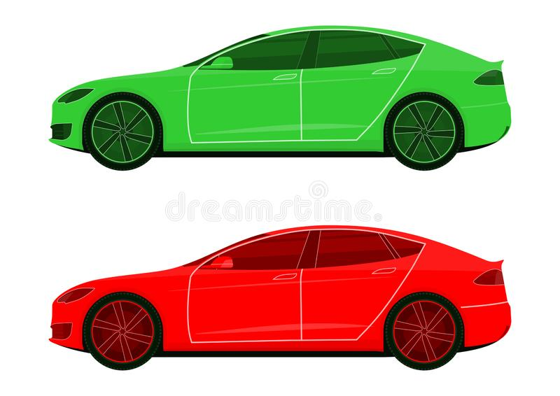 Icons of modern cars. royalty free illustration